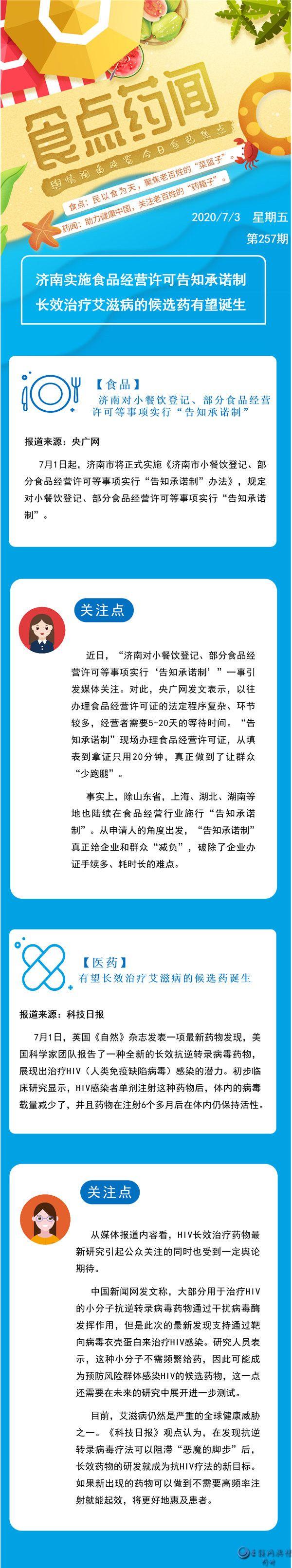 食点药闻:济南实施食品经营许可告知承诺制,艾滋病迎全新候选长效药